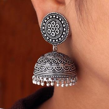 Hot S Amazing New Look Handmade Oxidised Silver Tone Jhumka Earrings