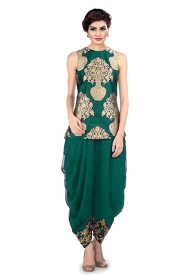 Dhoti Pant with Jacket by fabkaz (Green)