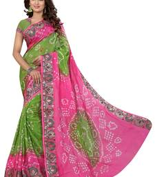Buy cotton silk saree by fabkaz (Pink and perrote) bandhani-sarees-bandhej online