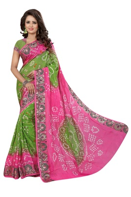 Pink and parrot green cotton silk saree with blouse
