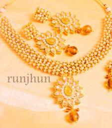 Buy pearl and polki royal necklace necklace-set online