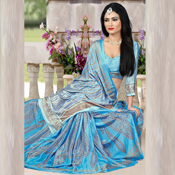 Blue printed crepe saree with blouse