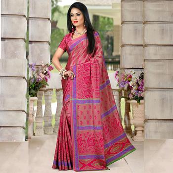 Raani printed crepe saree with blouse