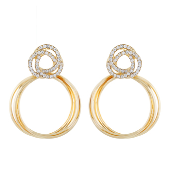 Round Shape Gold colour alloy Earrings for girls and womens