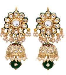 Green Golden Kundan Jhumki