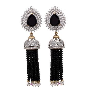 Black Royal Diamond Onyx Jhumki