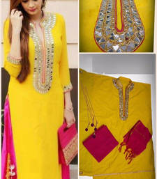 Buy Yellow georgette semi stitched salwar with dupatta semi-stitched-salwar-suit online