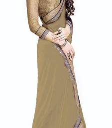 Buy Jai Ho Bollywood  Cream Chiffone Saree chiffon-saree online
