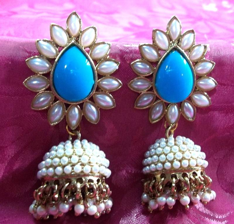 2 Earrings Sky Blue Polki Pearls Jhumka