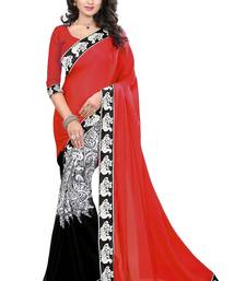 Buy Red printed chiffon saree with blouse cotton-saree online