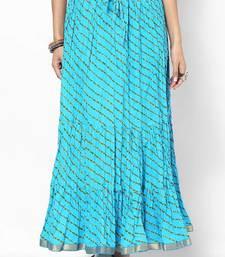 Stylish Cotton Sky Blue Printed Skirt