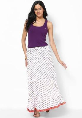 Amazing White Printed Cotton Long Skirt