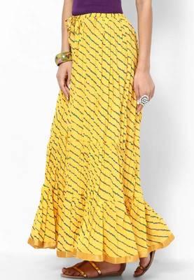 Beautiful Yellow Cotton Printed Skirt