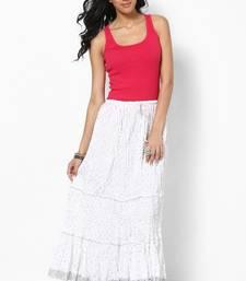 6f9e0b9ab6 Amazing White Cotton Skirt - Rajasthani Sarees - 210409