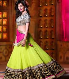 Buy Green embroidered georgette unstitched lehenga bollywood-lehenga online