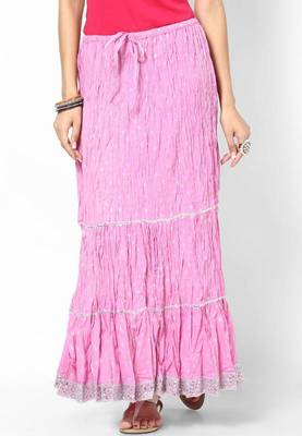 Beautiful Baby Pink Cotton Long Silver Print Skirt
