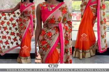 Multi color georgette designer saree