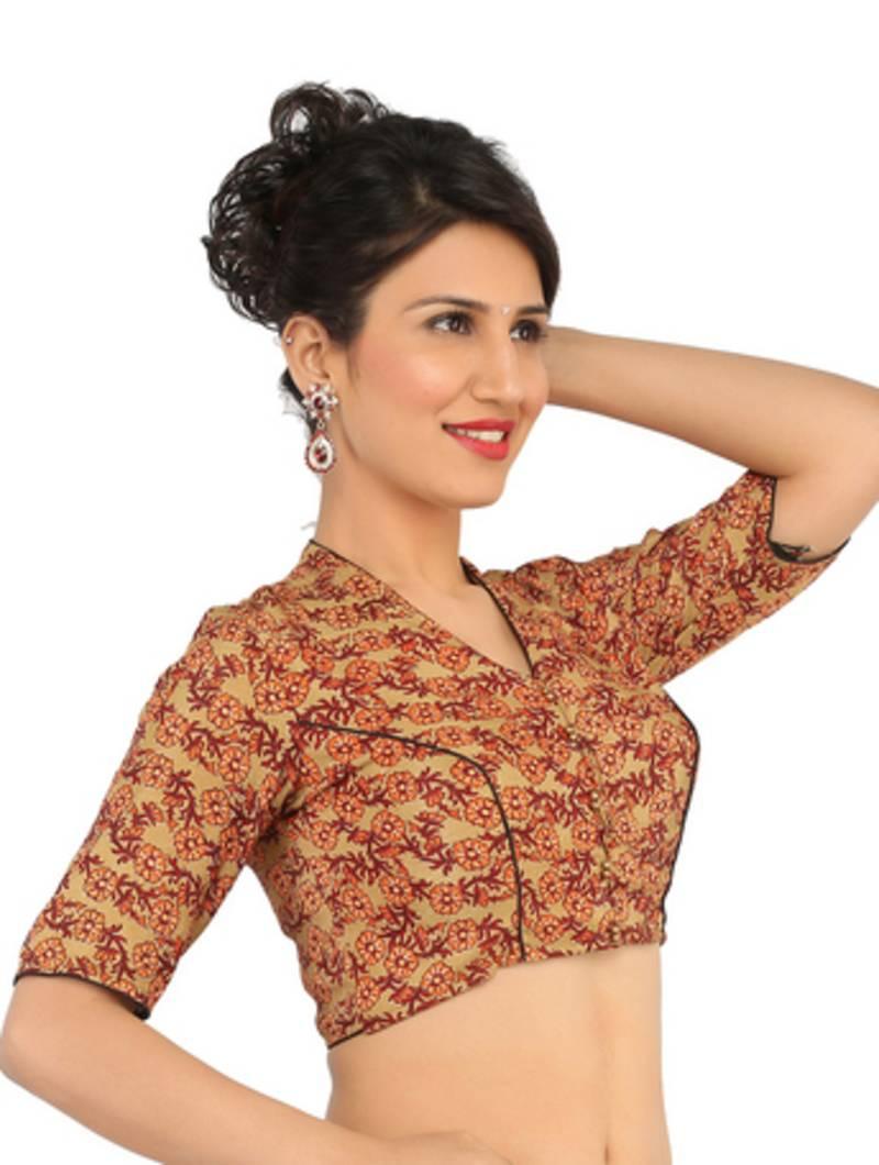 10012a61b456f brown v neck KALAMKARI ready made blouse - THE BLOUSE FACTORY - 1634524