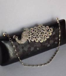Buy Black Peacock Evening Clutch with Chain Handle clutch online