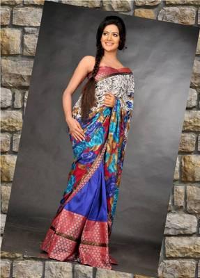 Crepe silk Chadar and royal blue raw silk mekhela