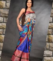 Buy Crepe silk Chadar and royal blue raw silk mekhela crepe-saree online