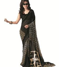 Buy NeelFab Black Georgette Printed Saree-7019 printed-saree online