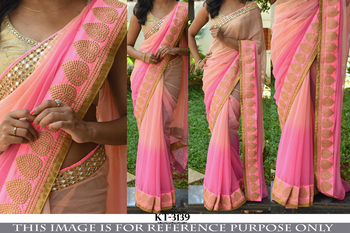 Peach pink designer georgette saree