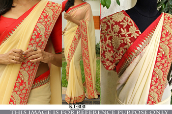 Cream Cream designer georgette saree