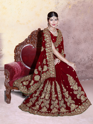 Maroon embroidered faux georgette saree with blouse