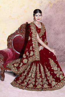 f01c9667c7 Maroon embroidered faux georgette saree with blouse
