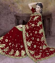 Buy Maroon embroidered faux georgette saree with blouse bridal-saree online