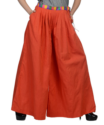 Women's Designer Orange Palazzo With Multi Colored Waist