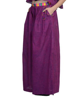 Women's Designer Purple Palazzo With Multi Colored Waist