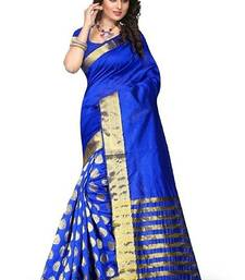 Buy Blue printed cotton silk saree with blouse cotton-saree online