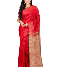Buy Red  hand woven dupion silk saree with blouse dupion-saree online
