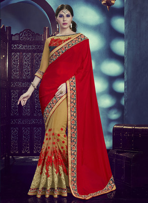 Maroon embroidered crepe saree with blouse
