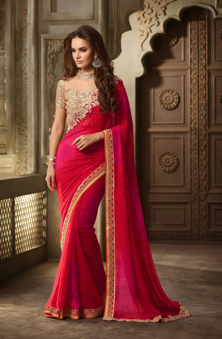 Buy Red Embroidered Georgette Saree With Blouse Online