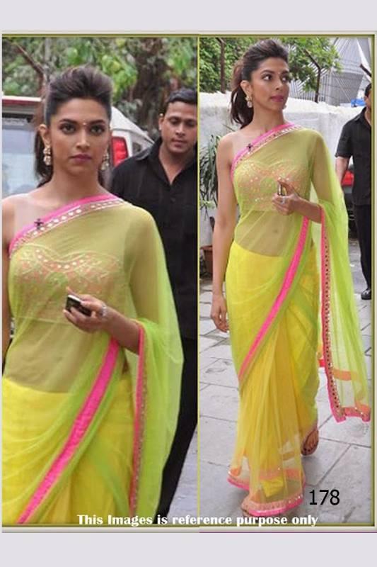 Deepika Padukone in Lemon Sari - Khantil India - 211732
