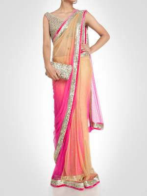 Pink embroidered nylon saree with blouse