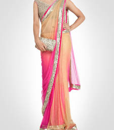 Buy Pink Embroidered Nylon Saree With Blouse South Indian Online