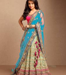 Buy sky blue colour embroidered net unstitched lehenga black-friday-deal-sale online