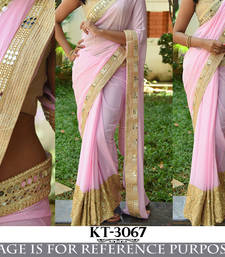 Buy Light pink embroidered georgette saree with blouse bengali-saree online