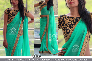 Multicolor embroidered georgette saree with blouse