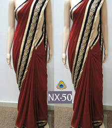 Buy Maroon embroidered georgette saree with blouse south-indian-saree online
