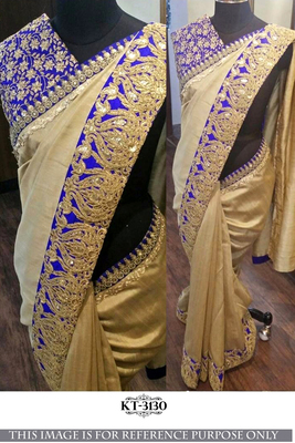 Golden embroidered nylon saree with blouse