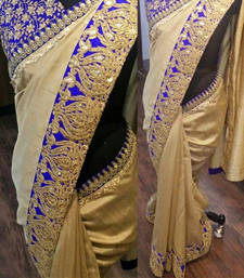 Buy Golden embroidered nylon saree with blouse south-indian-saree online