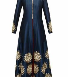 Buy Blue embroidered bhagalpuri cotton semi stitched salwar with dupatta semi-stitched-salwar-suit online