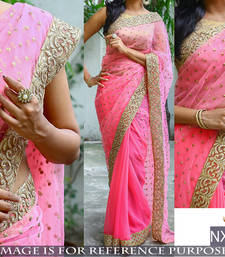 Buy Pink embroidered georgette saree with blouse hand-woven-saree online