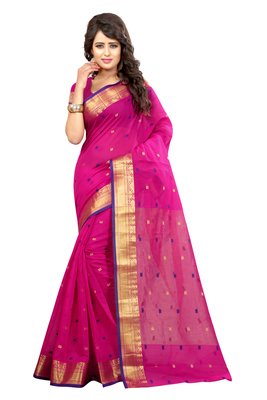 93e7cef130 Rani pink plain cotton silk saree with blouse - Alok Creation - 1641297