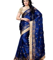 Buy BLUE embroidered satin saree with blouse satin-saree online